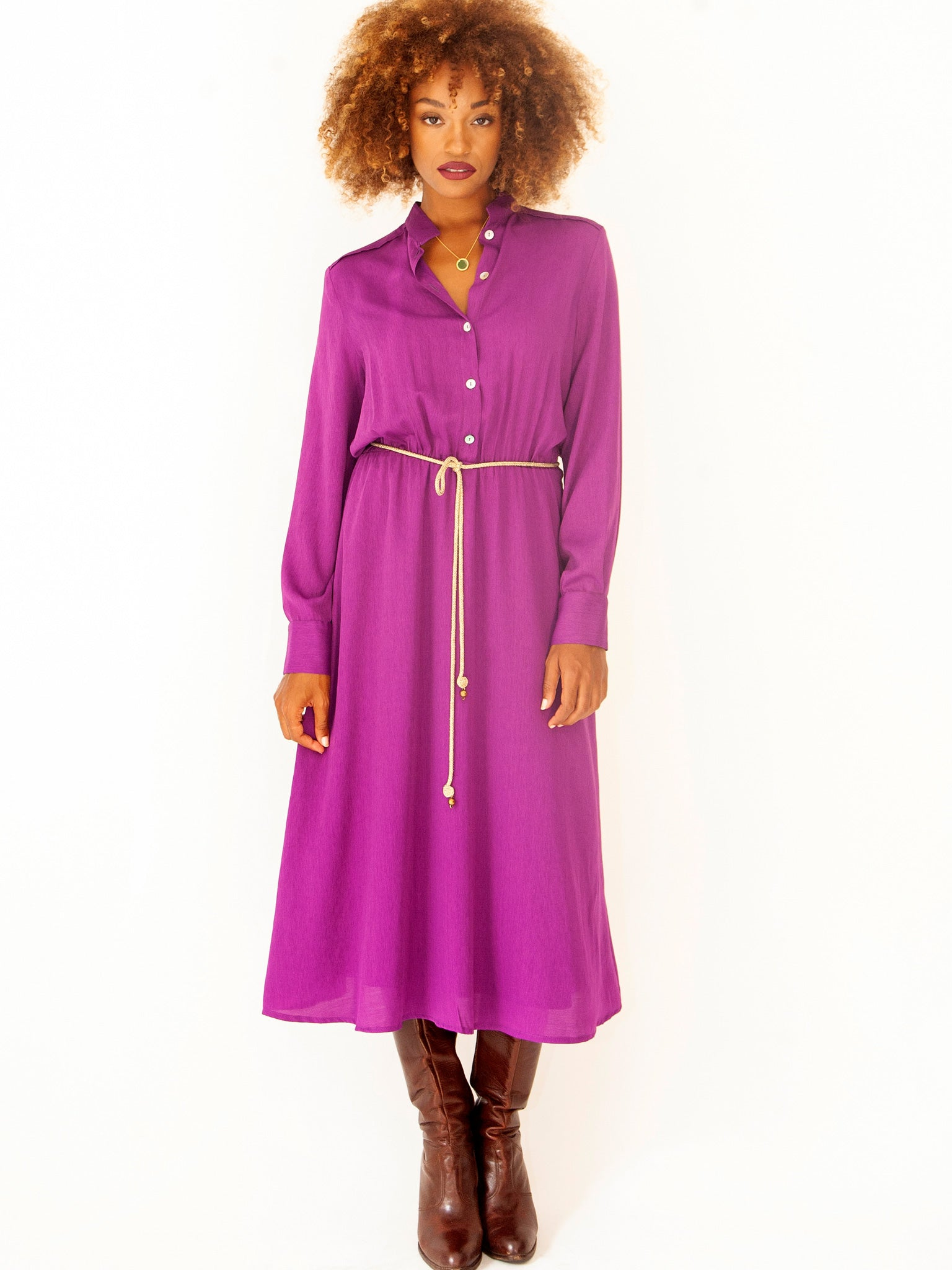 Violet Smart Casual Shirt Dress