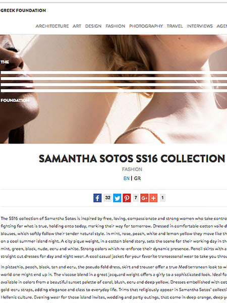 05/16 - The Greek Foundation - UK - http://www.thegreekfoundation.com/fashion/samantha-sotos-ss16-collection