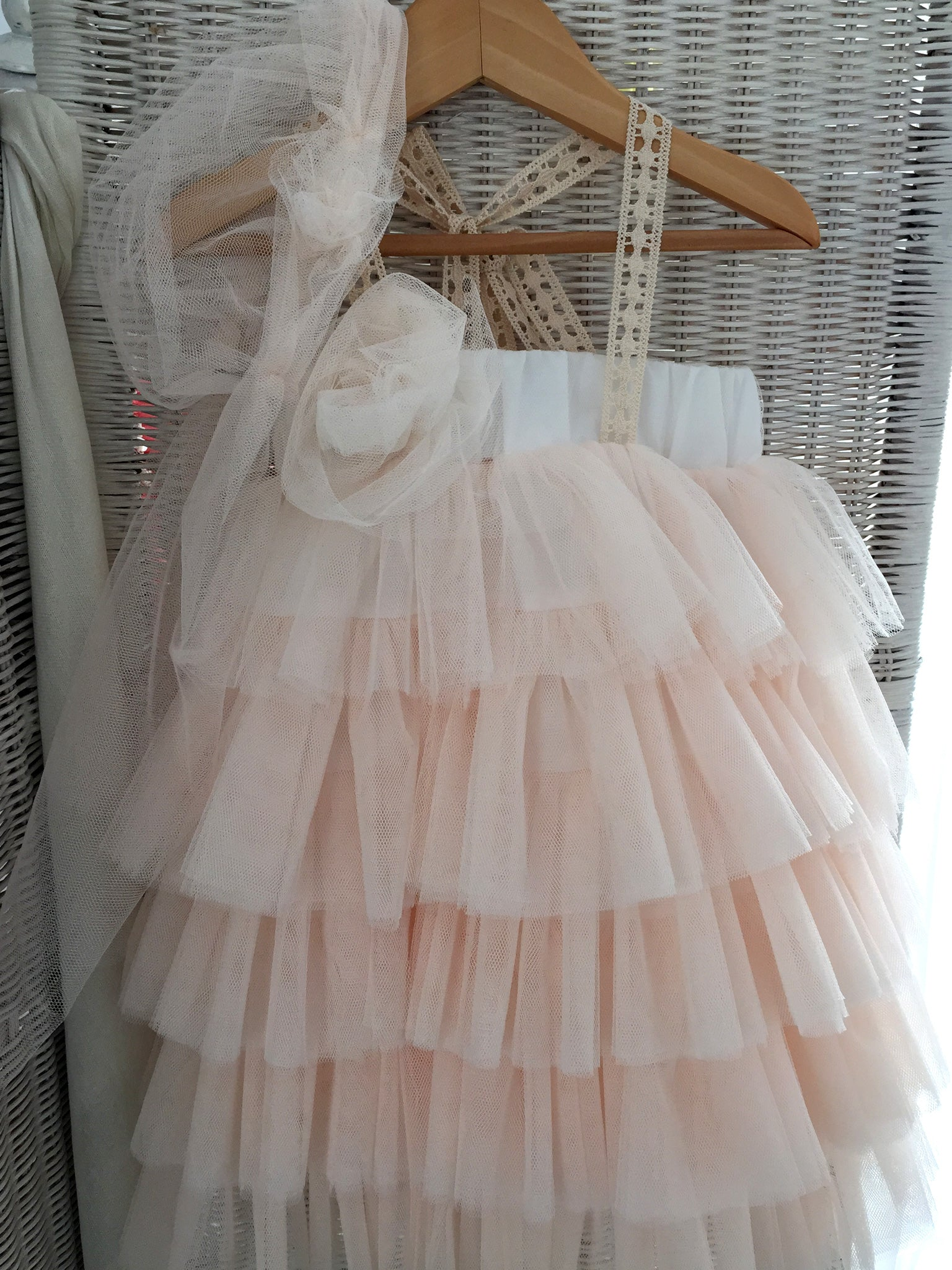 Apricot Layered Tulle Dress