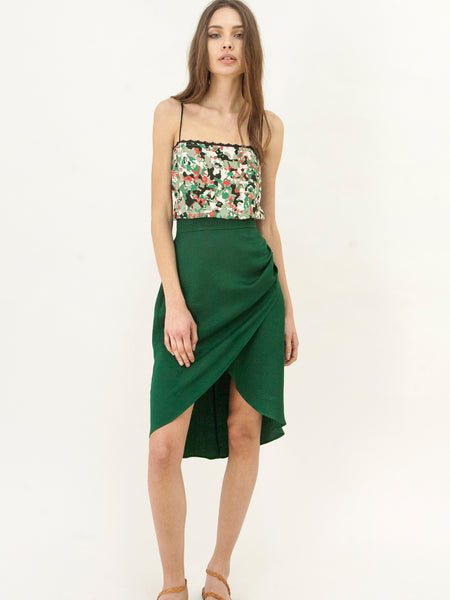 Green Wrap Evening Skirt