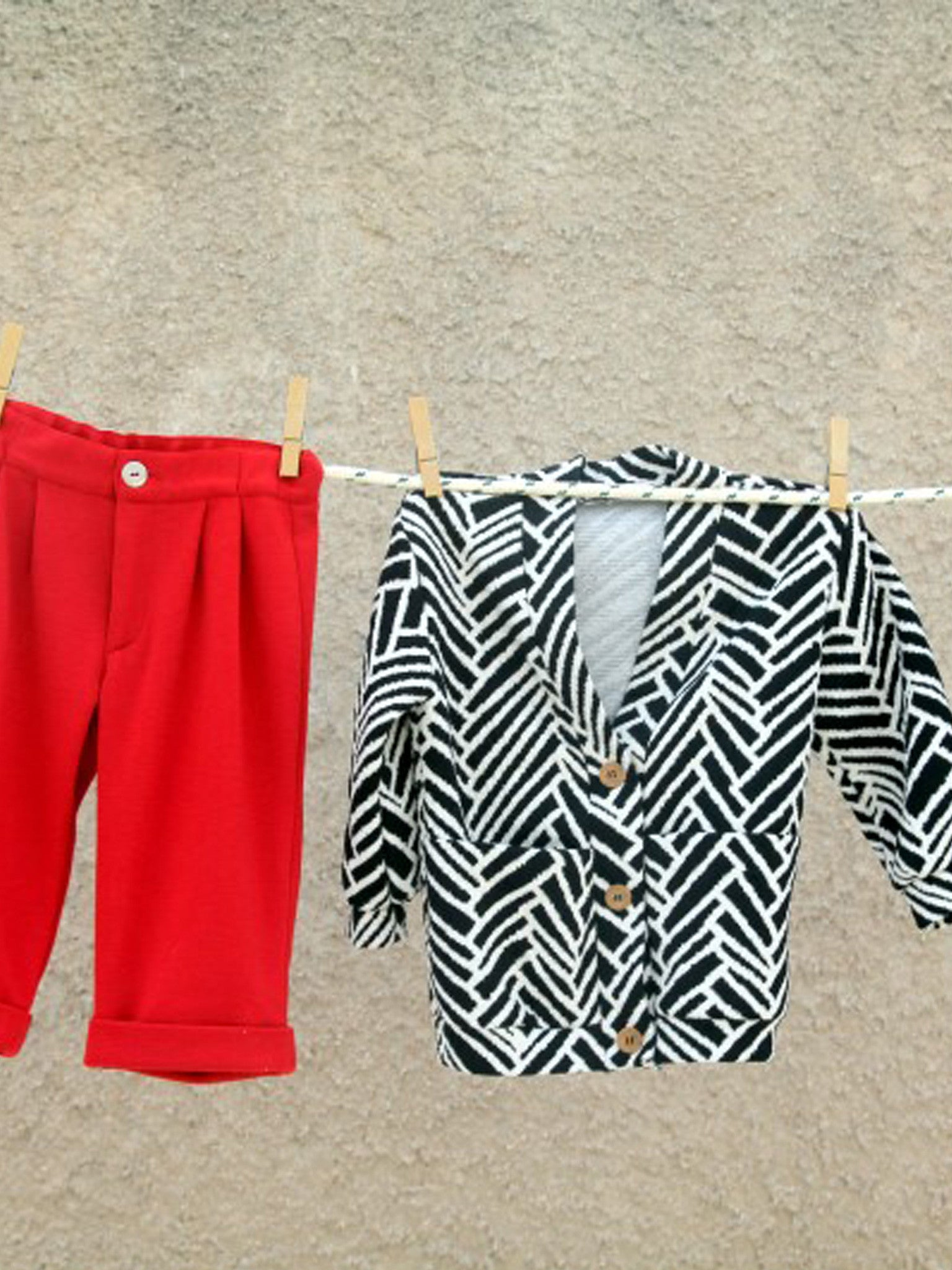 Graphic Zebra Cardi And Red Pants