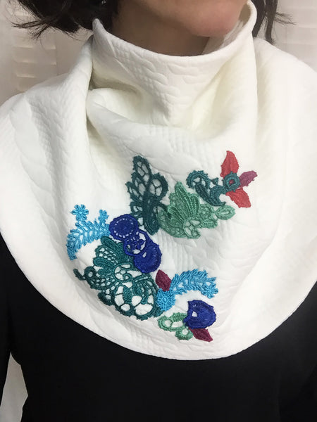 Winter White Embroidered Scarf