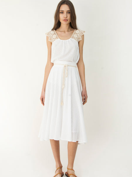 Grecian Dare To Flare Skirt White