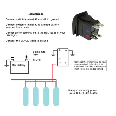 LUX Lighting Systems LED Rocker Switch Instructions