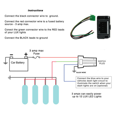 LUX Lighting Systems LED Switch Toyota 900 series Instructions