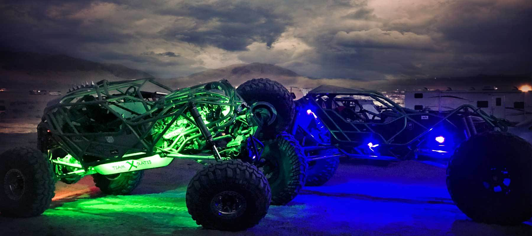 LED rock lights jeep the monster from LUX