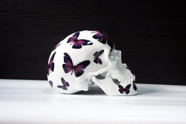 Noon - Purple Butterfly Skull - Ceramic Porcelain from K.Olin Tribu