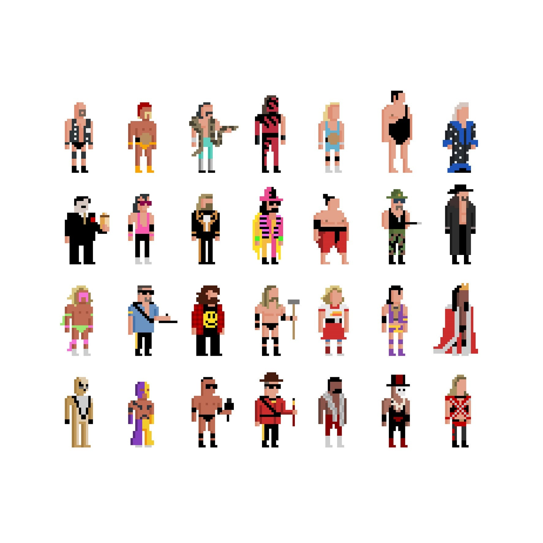 30 Squared - World Wrestling Legends - Print by Jim'll Paint It