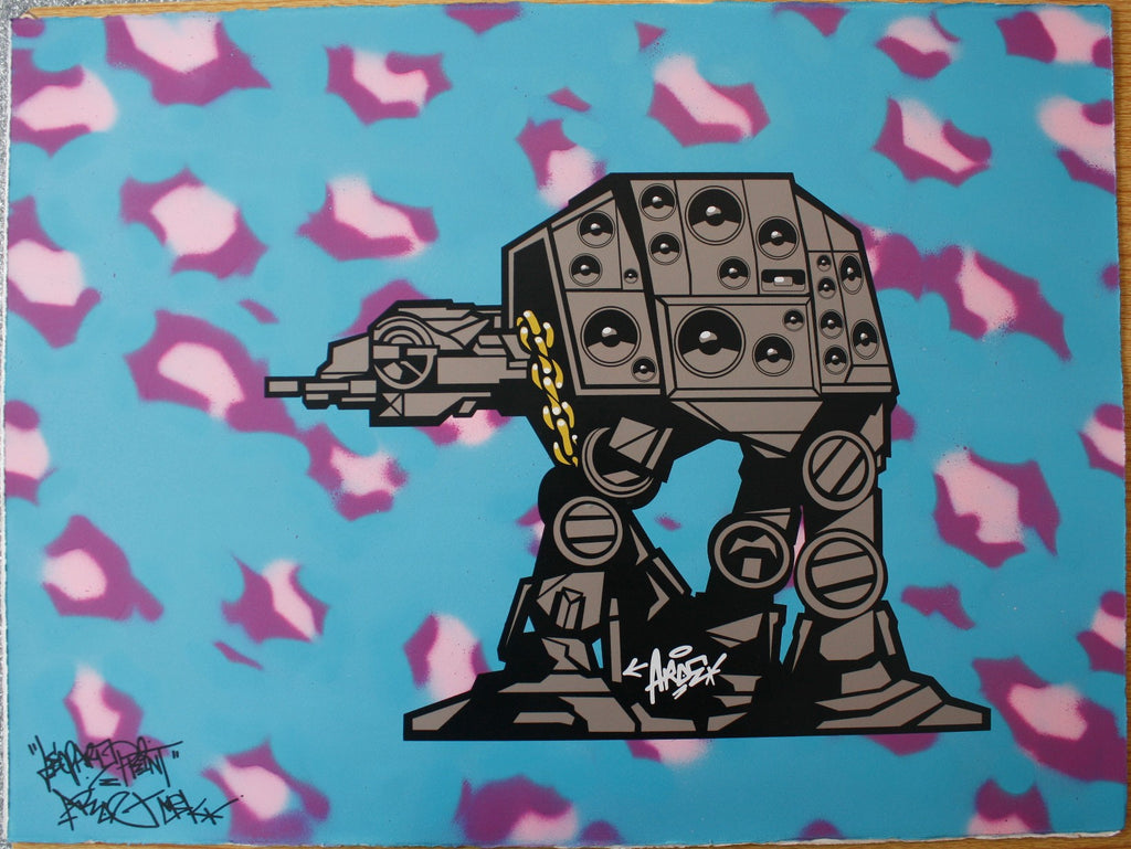 Aroe MSK - At-At Signed Hand-Finished Screenprint Star Wars Graffiti
