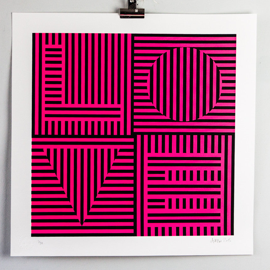 Carl Cashman - Love Hurts - Signed Screenprint / Print Geometric Neon Art