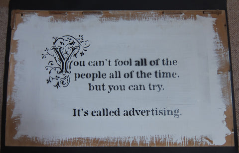 Banksy - Advertising - Simon Munnery Collaboration Original Canvas Piece Spraypaint on Wood