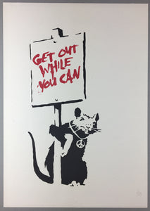 Banksy - Get Out While You Can - Unsigned Placard Rat