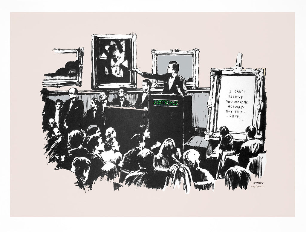 Banksy - Morons Screenprint Unsigned COA Pictures On Walls