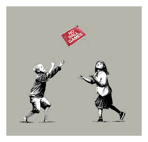 Banksy - No Ball Games Grey / Gray - Signed Screenprint Print