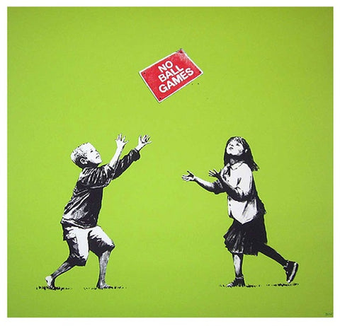 Banksy - No Ball Games (Green) (Signed)