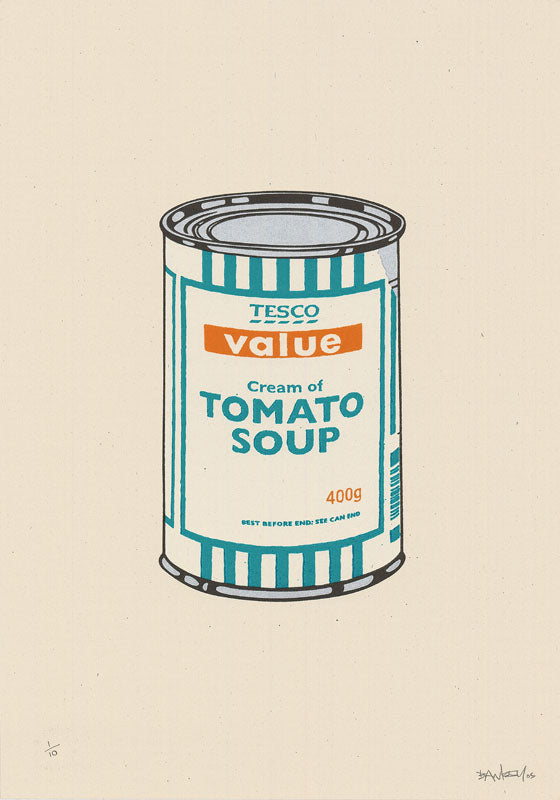 Banksy - Soup Can (White, Emerald, Tan) - Signed Screenprint Tesco Soup