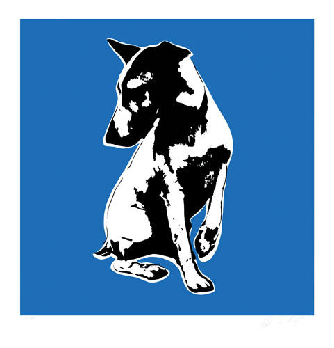 Blek Le Rat - His Masters Voiceless Print HMV Dog Signed Screenprint Blue