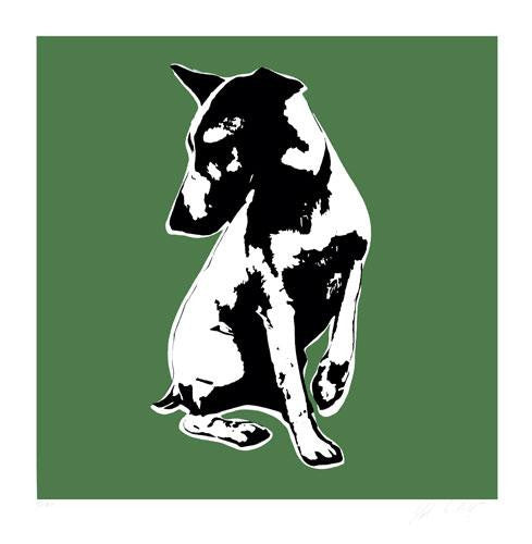 Blek Le Rat - His Masters Voiceless Print HMV Dog Signed Screenprint Green