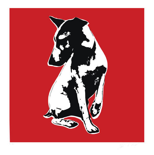Blek Le Rat - His Masters Voiceless Print HMV Dog Signed Screenprint Red