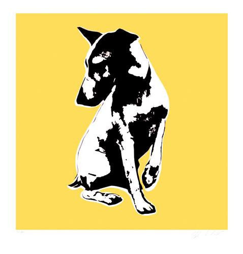Blek Le Rat - His Masters Voiceless Print HMV Dog Signed Screenprint Yellow
