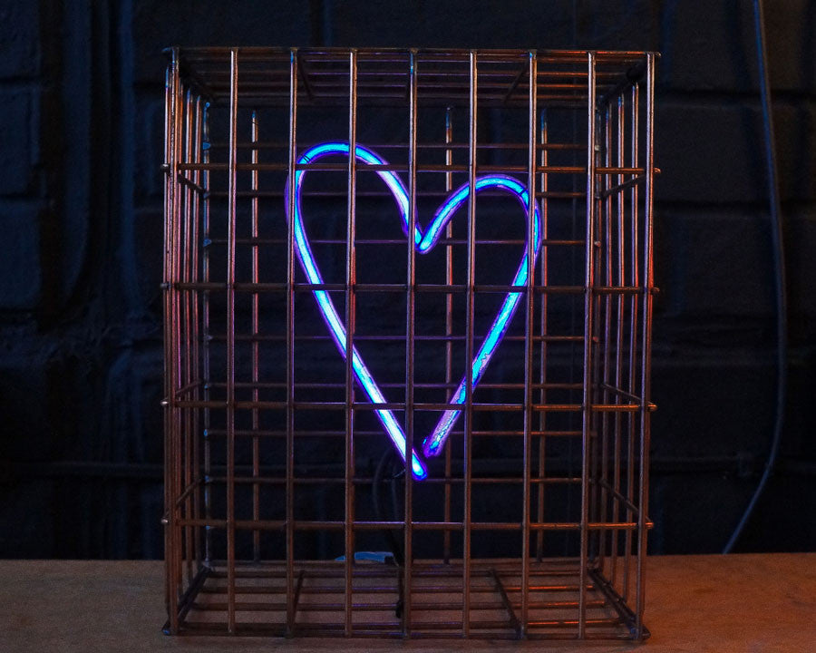 Andy Doig - Safe From Harm Blue Neon Heart Art