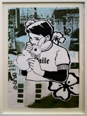 Faile - Bunny Boy Archive Original Blue / Green Unique Print