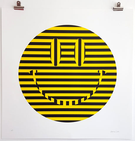 Carl Cashman - Acid Smiley Face Print - Hacienda Yellow