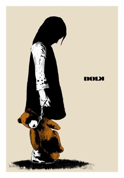 Dolk - Girl With Teddy - Signed Print Norway Stencil Art Teddybear