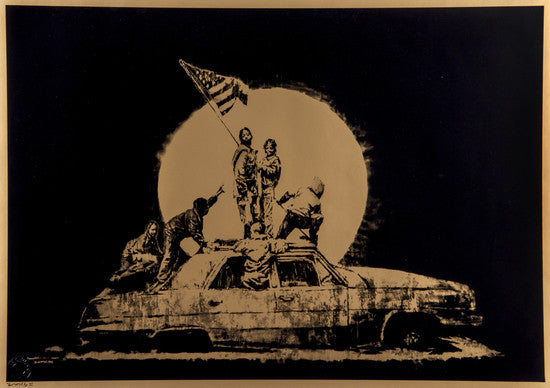 Banksy - Gold Flag Flags - Signed Print