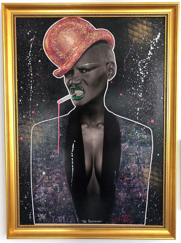 Grace Jones The Postman Original Wheatpaste on board
