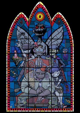 Jamie Hewlett Stained Glass Window Print Set Gorillaz