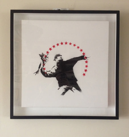 Banksy - Love Is In The Air - Original Canvas - Flower Thrower