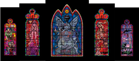 Jamie Hewlett - Stained Glass Window Set Of 5 Prints (Framed)