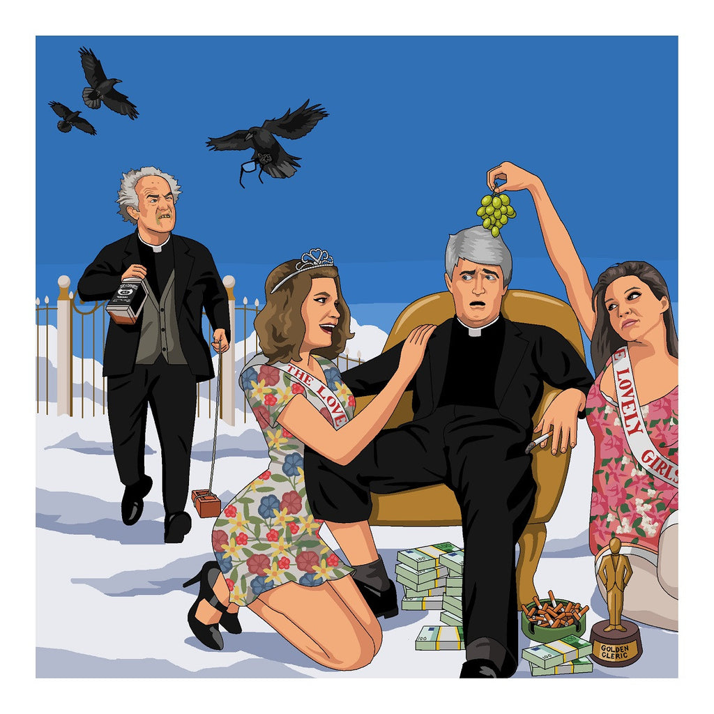 Jim'll Paint It - The Arrival Of Father Jack Father Ted Frank Kelly Tribute Print