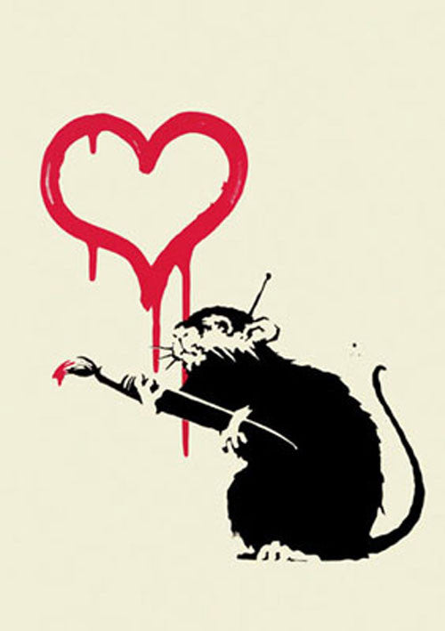 Banksy - Love Rat - Unsigned Print Screenprint Signed with COA