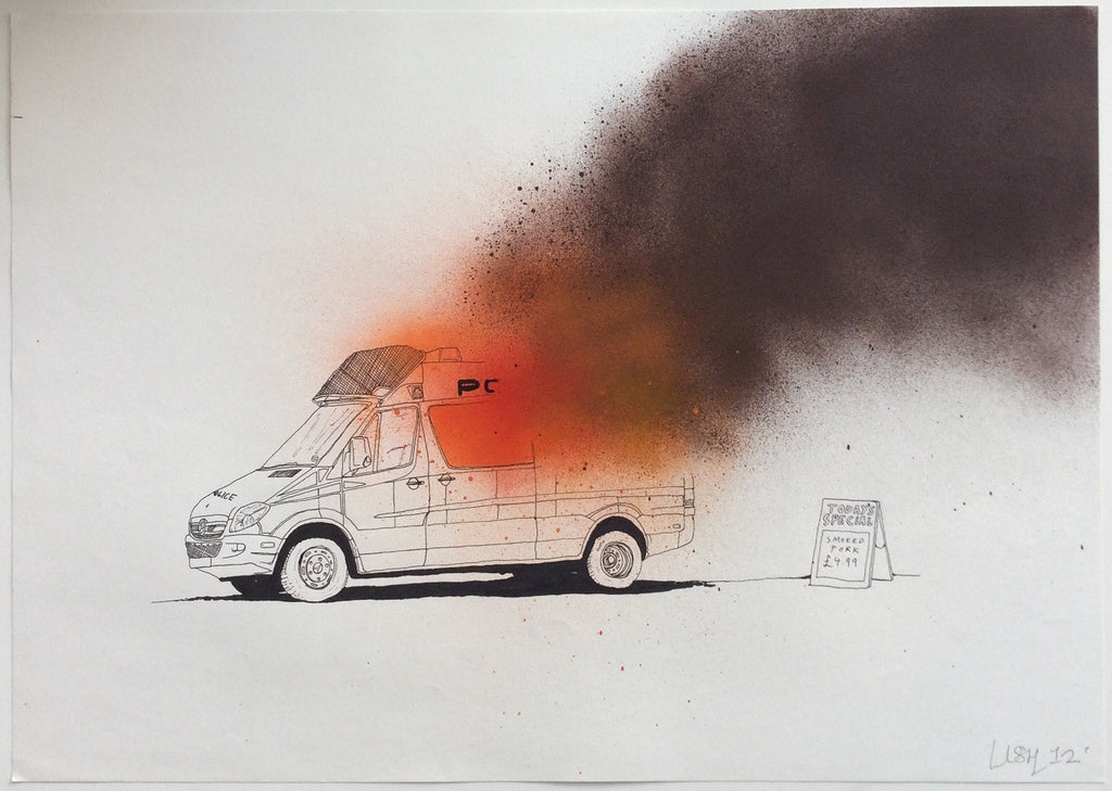 Lush - Graffiti Australia - Burning Police Van Original Drawing Signed