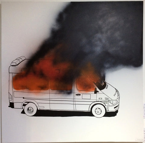 Lush - Burning Van (1m x 1m Canvas)