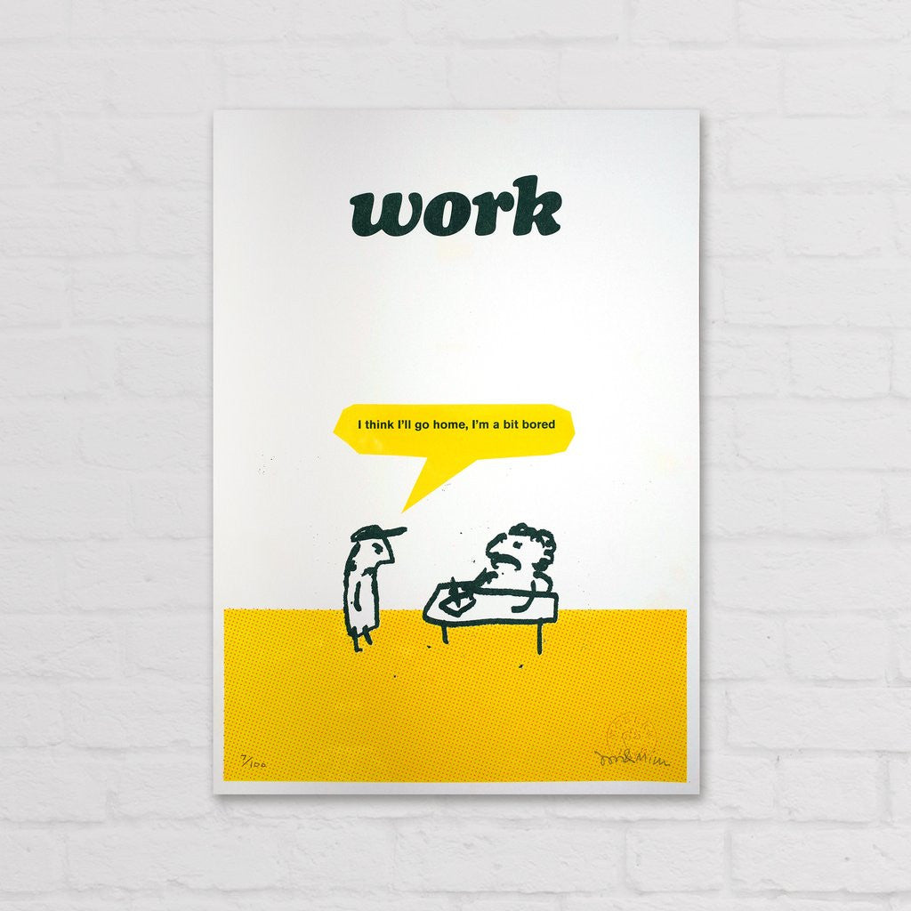 Modern Toss - Signed Limited Edition Print Work Bored