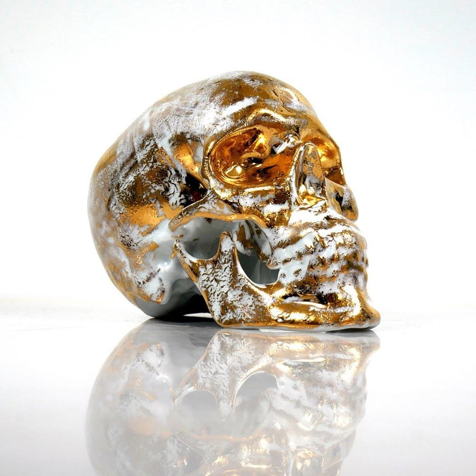 Noon - Gold Skull B - K.Olin Tribu - Ceramic Limoges Porcelain