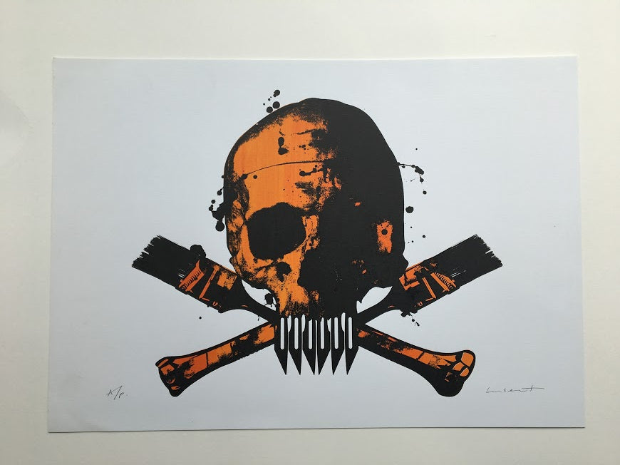 Paul Insect - POW Skull Screenprint Orange - Signed Artist Proof