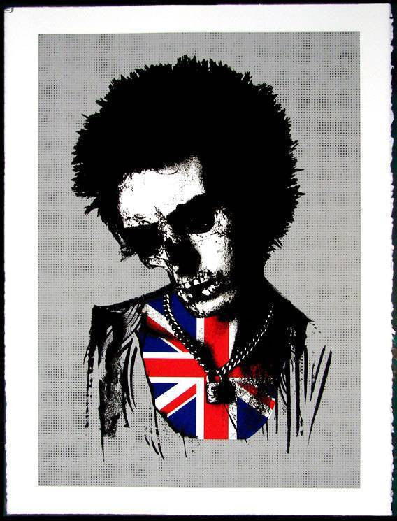 Paul Insect - Silver Sid Vicious Signed Print