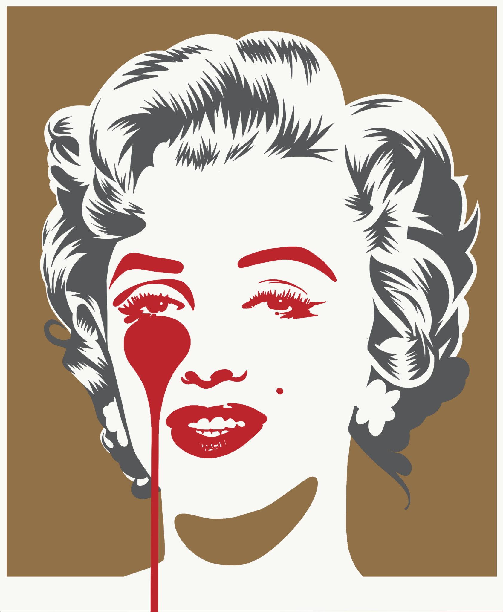 Pure Evil - Marilyn - Gold and Grey Print