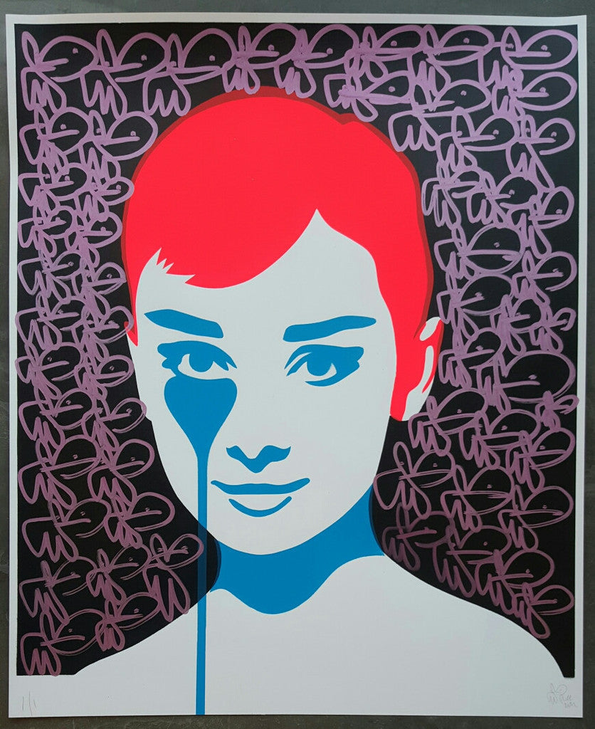 Pure Evil - Audrey Hepburn / Mel Ferrer's Nightmare 1/1 Hand-Finished Signed Original Screenprint