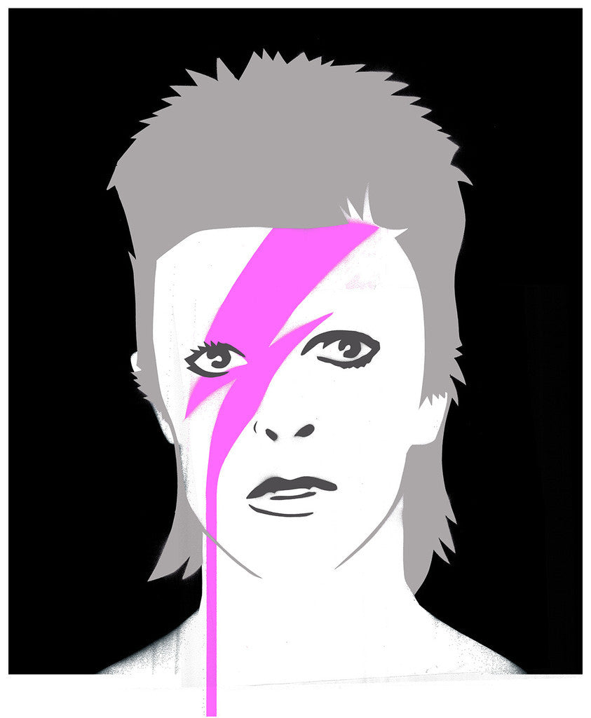 Pure Evil - A Lad Insane (The Stars Look Very Different Today) - David Bowie Print Silver Pink