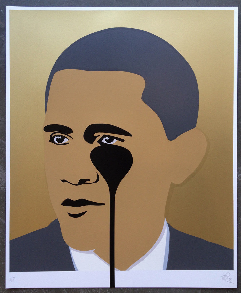 Pure Evil - Crying Obama Gold Signed Nightmare Screenprint