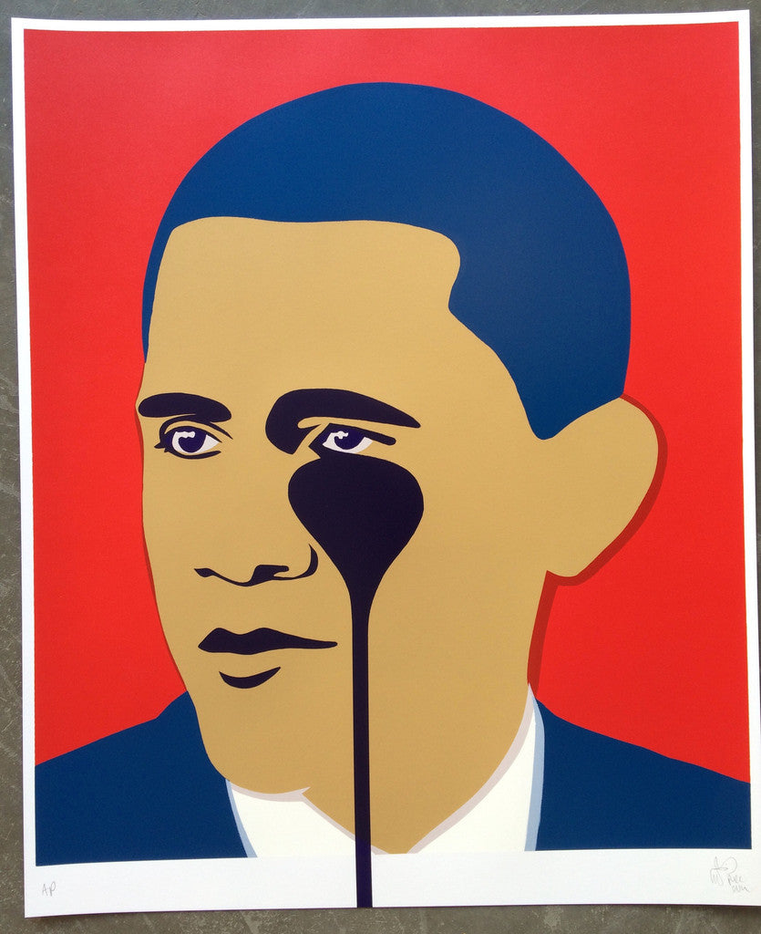 Pure Evil - Crying Obama Red Signed Nightmare Screenprint