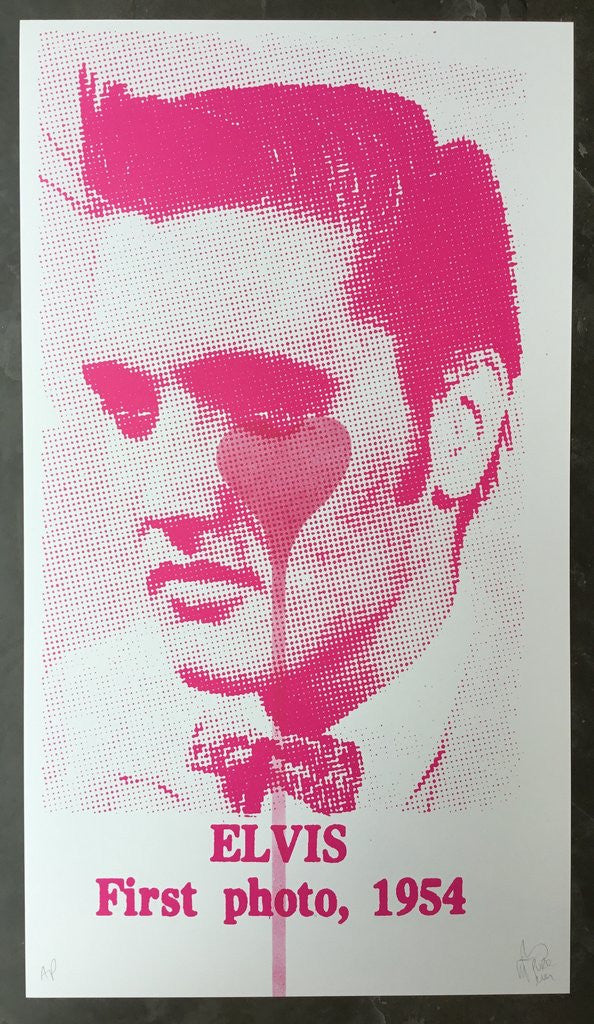 Pure Evil - Elvis First Photo, 1954 - Pink Heart - Signed Screenprint