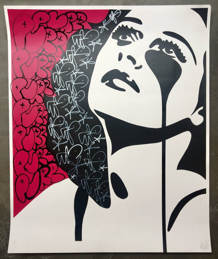 Pure Evil - Hedy, Watch The Stars (Hedy Lamarr, The Inventor) Signed Hand-Finished Unique Screenprint