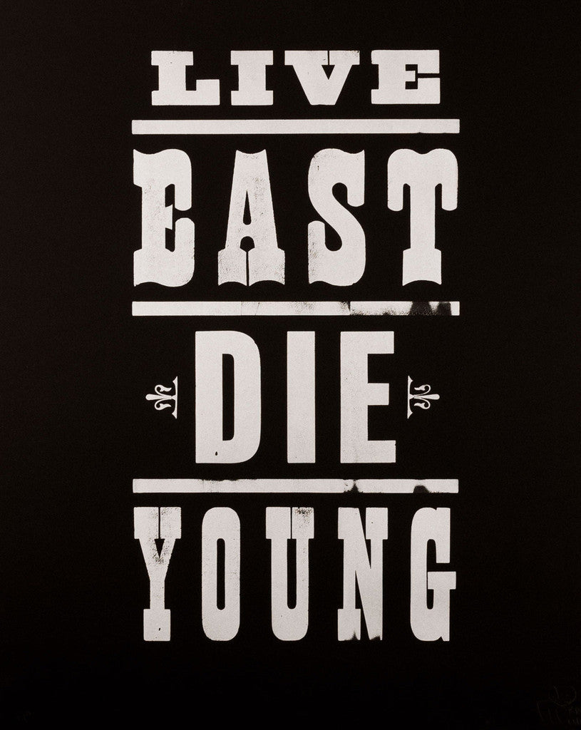 Pure Evil - Live East Die Young Print White on Black