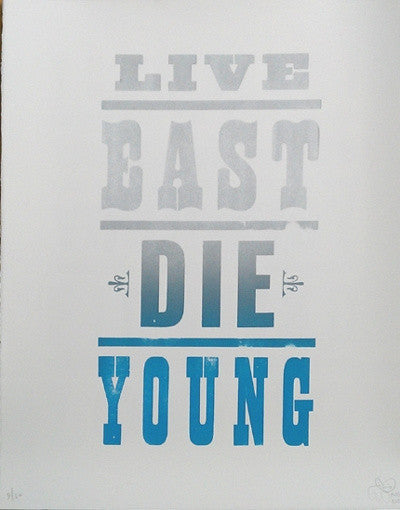 Pure Evil - Live East Die Young Print Silver on White